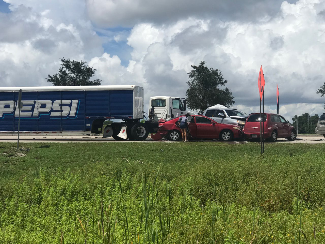 Large Pepsi Delivery Truck And Vehicles Involved In A 8 car crash on Fruitville Road In Sarasota Monday Afternoon