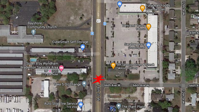 Bradenton Pedestrian In Critical After Being Hit By Car On 41 At 66th Ave. West